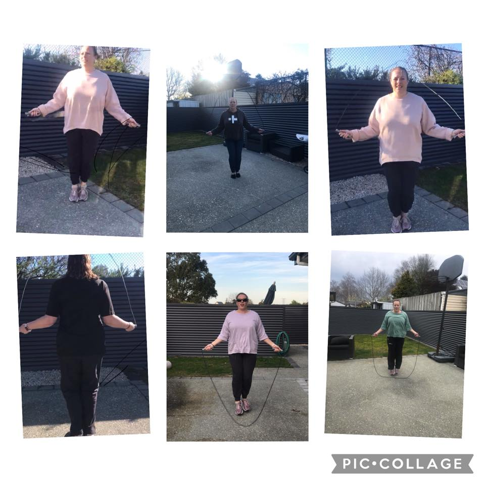 6 photographs of one lady skipping with her jump rope